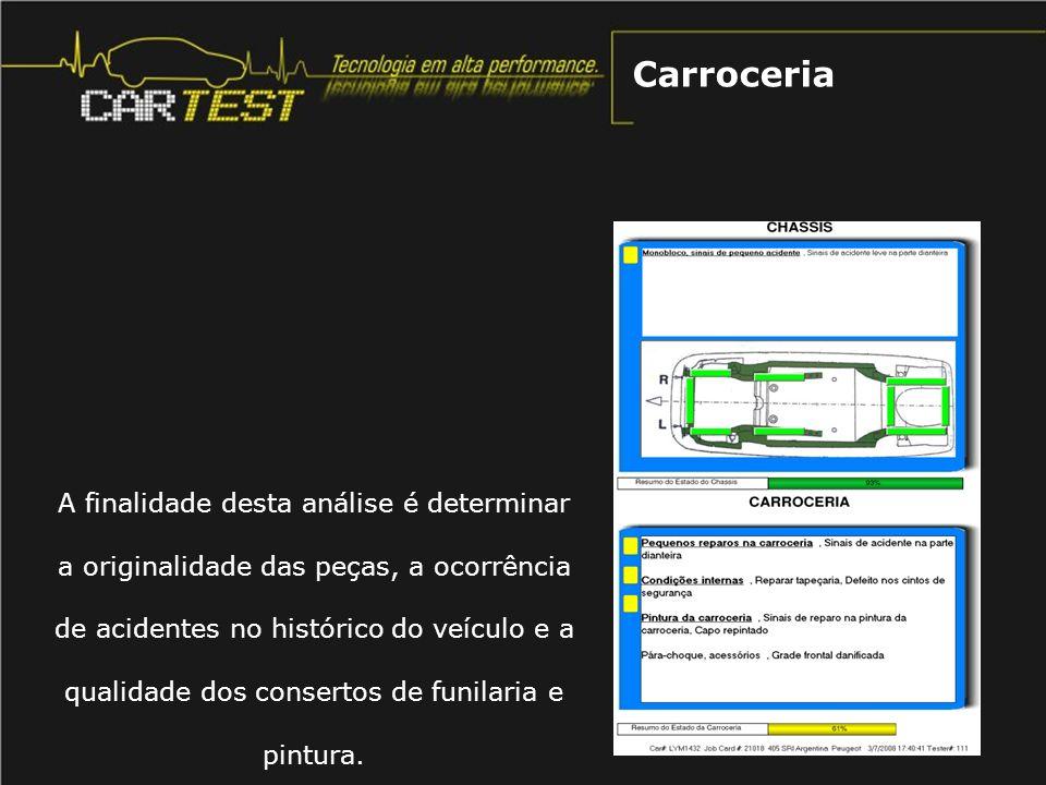 A finalidade desta análise é determinar a originalidade das peças, a ocorrência de acidentes no histórico do veículo e a qualidade dos consertos de fu