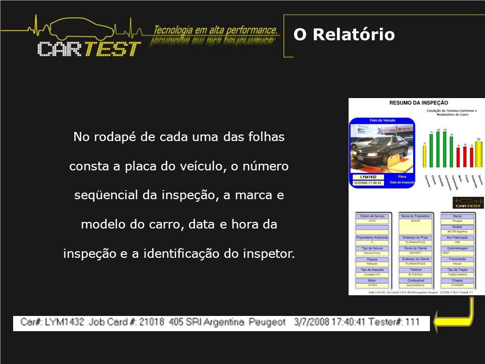 A primeira folha contém: Foto do veículo no momento da inspeção; Dados do veículo, proprietário e do cliente; Resumo dos resultados.