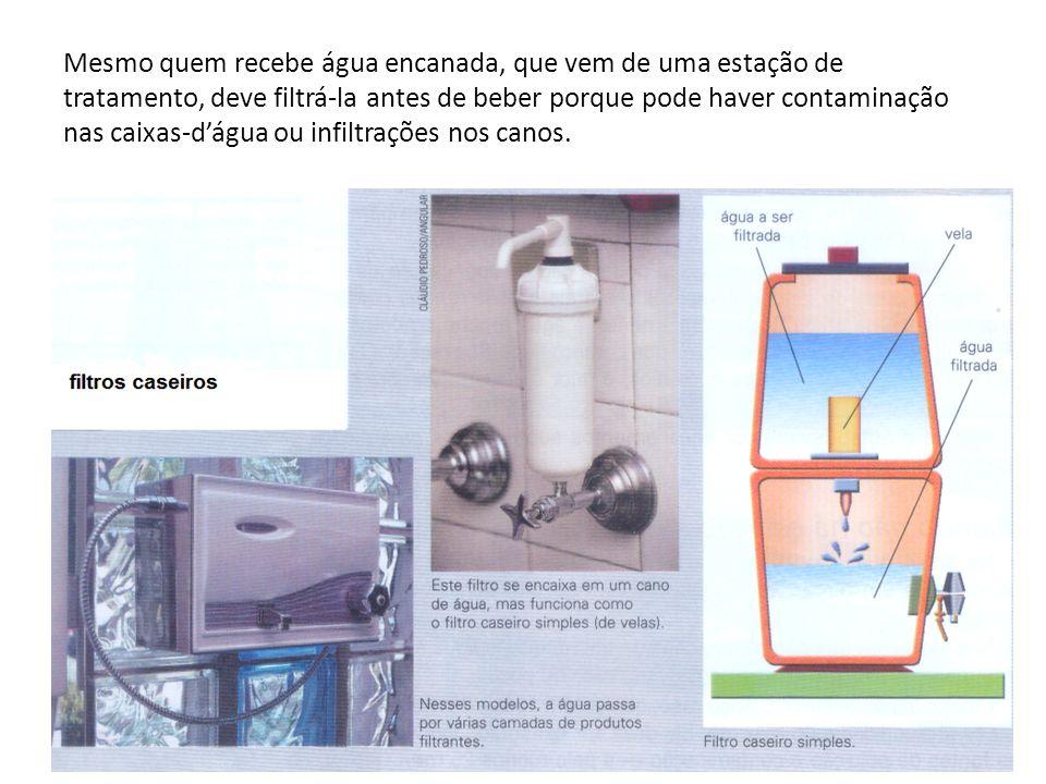Mesmo quem recebe água encanada, que vem de uma estação de tratamento, deve filtrá-la antes de beber porque pode haver contaminação nas caixas-dágua o