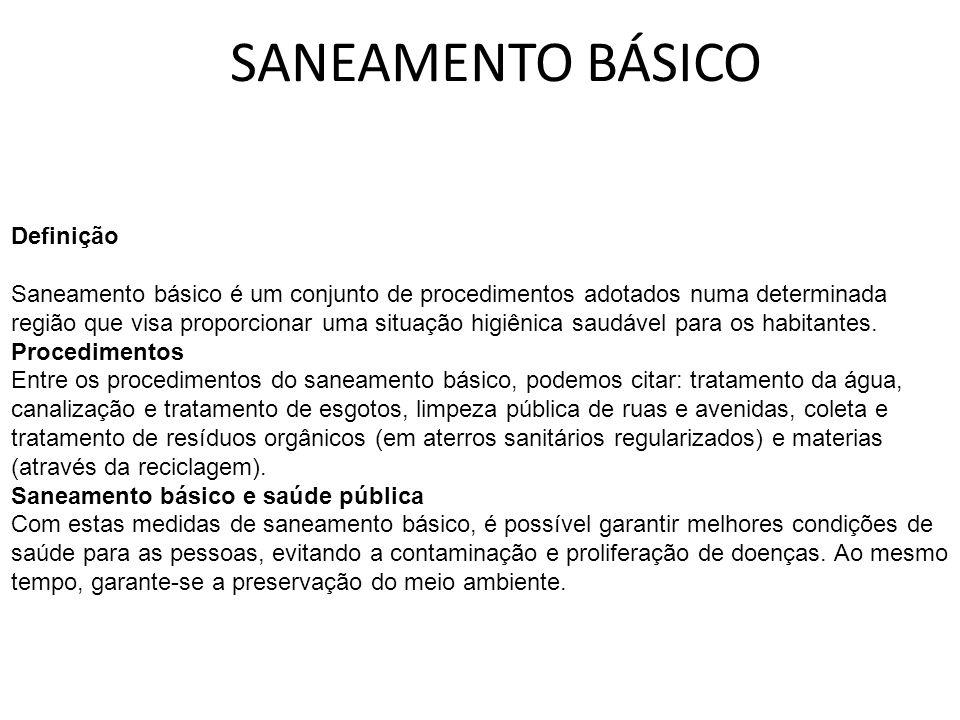 SANEAMENTO BÁSICO Definição Saneamento básico é um conjunto de procedimentos adotados numa determinada região que visa proporcionar uma situação higiê