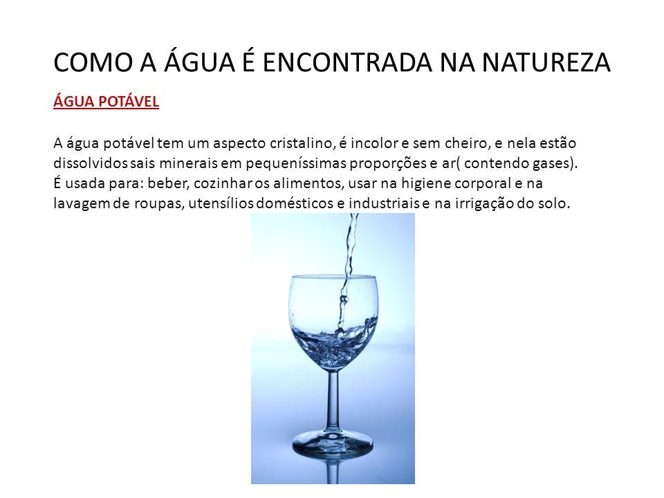 COMO A ÁGUA É ENCONTRADA NA NATUREZA ÁGUA POTÁVEL A água potável tem um aspecto cristalino, é incolor e sem cheiro, e nela estão dissolvidos sais mine