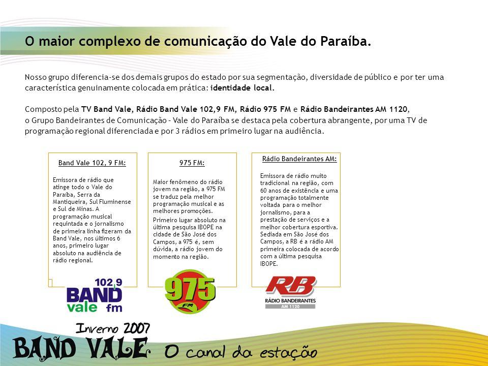 O maior complexo de comunicação do Vale do Paraíba. Nosso grupo diferencia-se dos demais grupos do estado por sua segmentação, diversidade de público