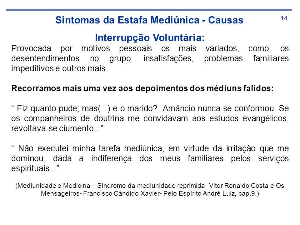 14 Sintomas da Estafa Mediúnica - Causas Interrupção Voluntária: Provocada por motivos pessoais os mais variados, como, os desentendimentos no grupo,