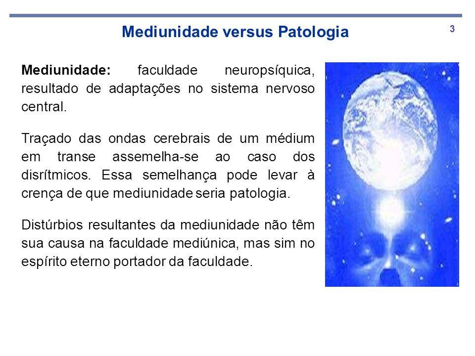 3 Mediunidade versus Patologia Mediunidade: faculdade neuropsíquica, resultado de adaptações no sistema nervoso central. Traçado das ondas cerebrais d