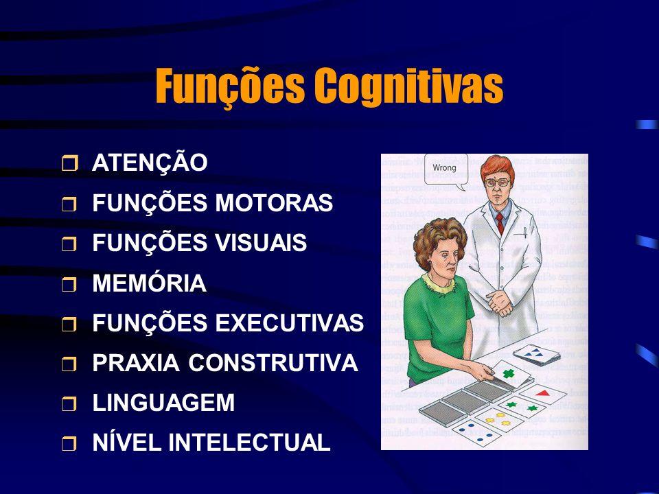 Funções Cognitivas ATENÇÃO FUNÇÕES MOTORAS FUNÇÕES VISUAIS MEMÓRIA FUNÇÕES EXECUTIVAS PRAXIA CONSTRUTIVA LINGUAGEM NÍVEL INTELECTUAL