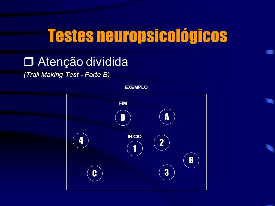 Testes neuropsicológicos Atenção dividida (Trail Making Test - Parte B) 1 INÍCIO FIM A B 2 3 C 4 D EXEMPLO