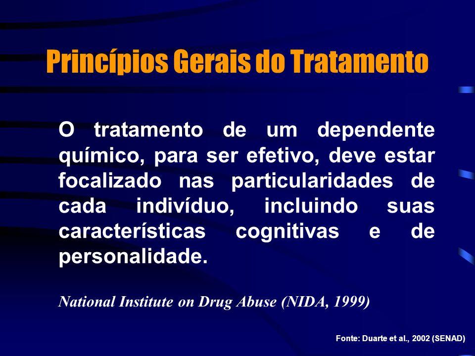 Princípios Gerais do Tratamento O tratamento de um dependente químico, para ser efetivo, deve estar focalizado nas particularidades de cada indivíduo,