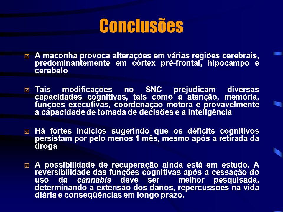 Conclusões A maconha provoca alterações em várias regiões cerebrais, predominantemente em córtex pré-frontal, hipocampo e cerebelo Tais modificações n