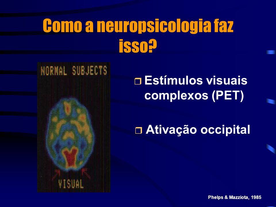 Como a neuropsicologia faz isso? Estímulos visuais complexos (PET) Ativação occipital Phelps & Mazziota, 1985