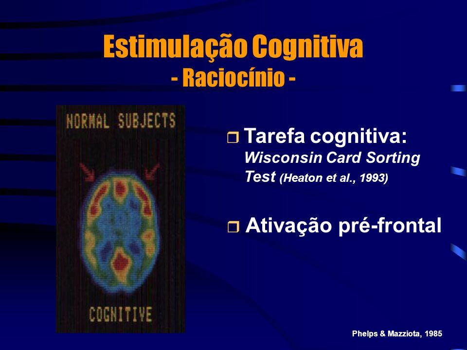 Estimulação Cognitiva - Raciocínio - Tarefa cognitiva: Wisconsin Card Sorting Test (Heaton et al., 1993) Ativação pré-frontal Phelps & Mazziota, 1985