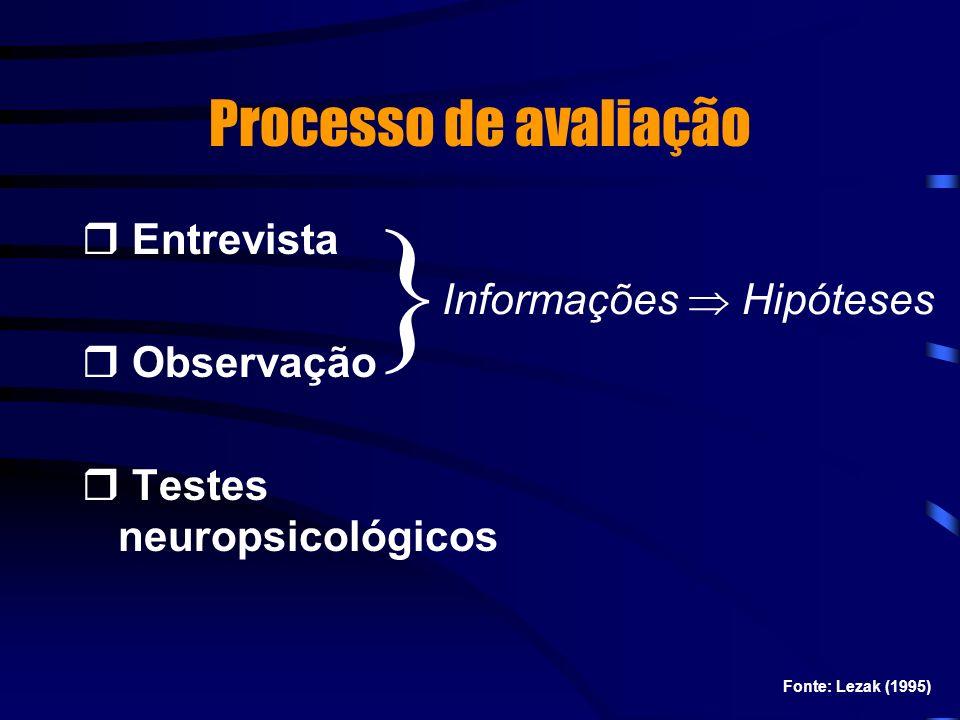 Processo de avaliação Entrevista Observação Testes neuropsicológicos } Informações Hipóteses Fonte: Lezak (1995)
