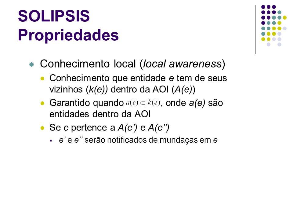 SOLIPSIS Propriedades Conhecimento local (local awareness) Conhecimento que entidade e tem de seus vizinhos (k(e)) dentro da AOI (A(e)) Garantido quan