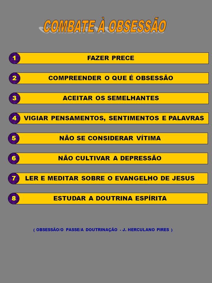 ESTUDAR A DOUTRINA ESPÍRITA8 LER E MEDITAR SOBRE O EVANGELHO DE JESUS7 ( OBSESSÃO/O PASSE/A DOUTRINAÇÃO - J. HERCULANO PIRES ) NÃO CULTIVAR A DEPRESSÃ