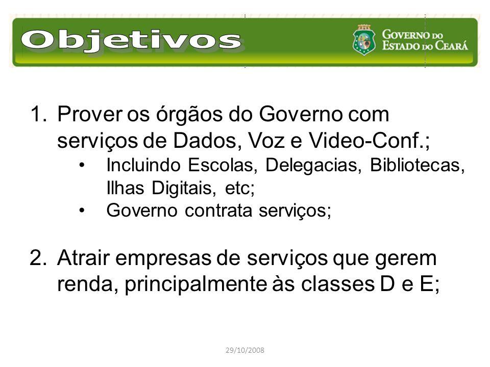29/10/2008 1.Prover os órgãos do Governo com serviços de Dados, Voz e Video-Conf.; Incluindo Escolas, Delegacias, Bibliotecas, Ilhas Digitais, etc; Go