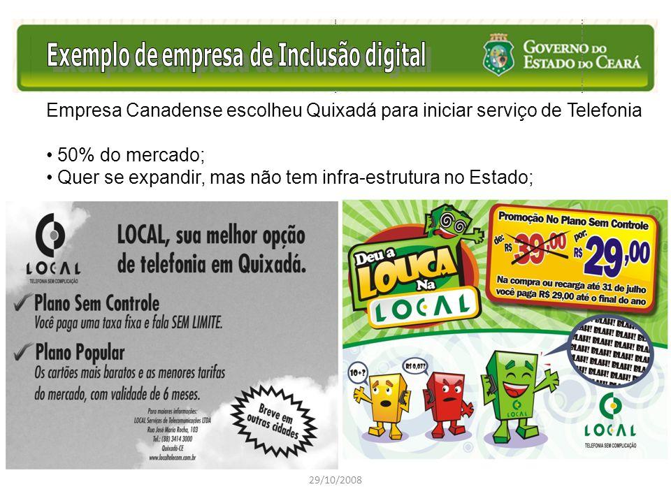 29/10/2008 Empresa Canadense escolheu Quixadá para iniciar serviço de Telefonia 50% do mercado; Quer se expandir, mas não tem infra-estrutura no Estad