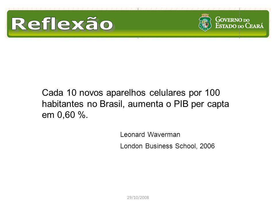 29/10/2008 Cada 10 novos aparelhos celulares por 100 habitantes no Brasil, aumenta o PIB per capta em 0,60 %. Leonard Waverman London Business School,