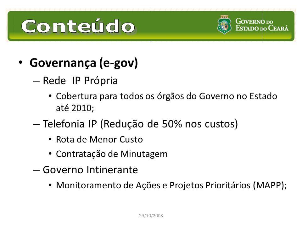 Governança (e-gov) – Rede IP Própria Cobertura para todos os órgãos do Governo no Estado até 2010; – Telefonia IP (Redução de 50% nos custos) Rota de