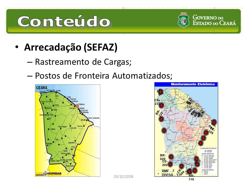 Arrecadação (SEFAZ) – Rastreamento de Cargas; – Postos de Fronteira Automatizados; 29/10/2008 CE- 060 CE- 085 BR- 222 BR- 020 CE- 065 CE- 060 BR- 116
