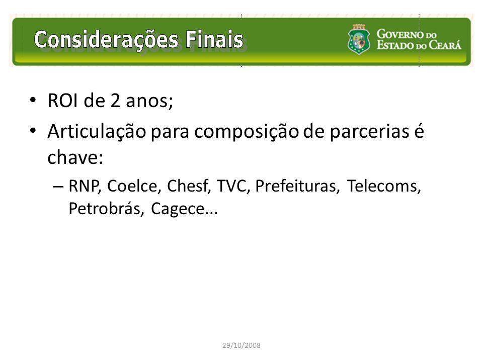 ROI de 2 anos; Articulação para composição de parcerias é chave: – RNP, Coelce, Chesf, TVC, Prefeituras, Telecoms, Petrobrás, Cagece... 29/10/2008