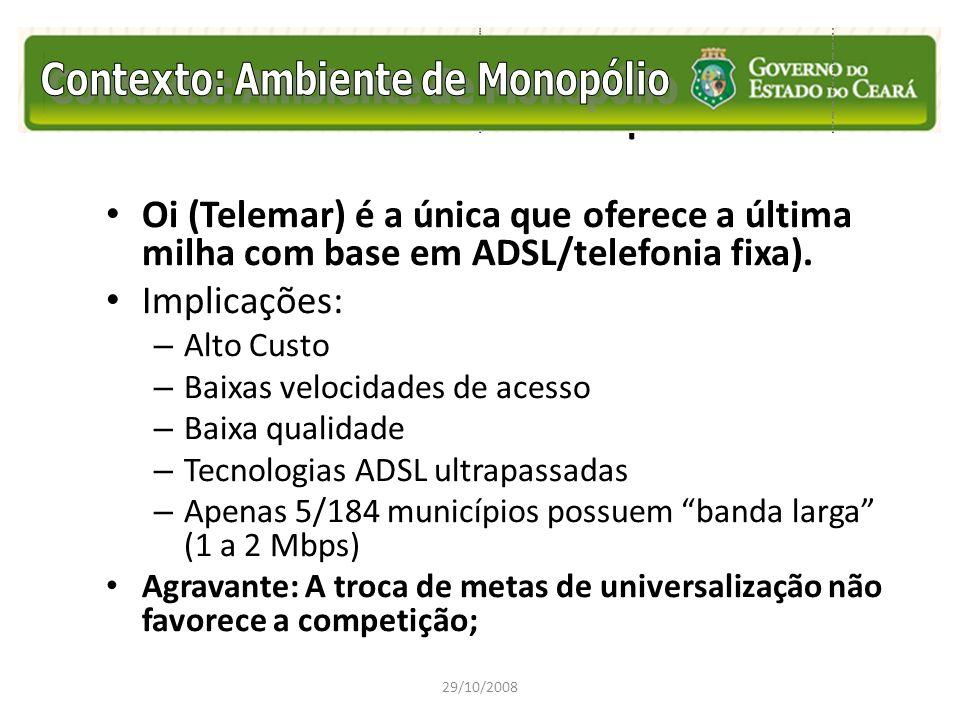 Contexto Ambiente de Monopólio Oi (Telemar) é a única que oferece a última milha com base em ADSL/telefonia fixa). Implicações: – Alto Custo – Baixas