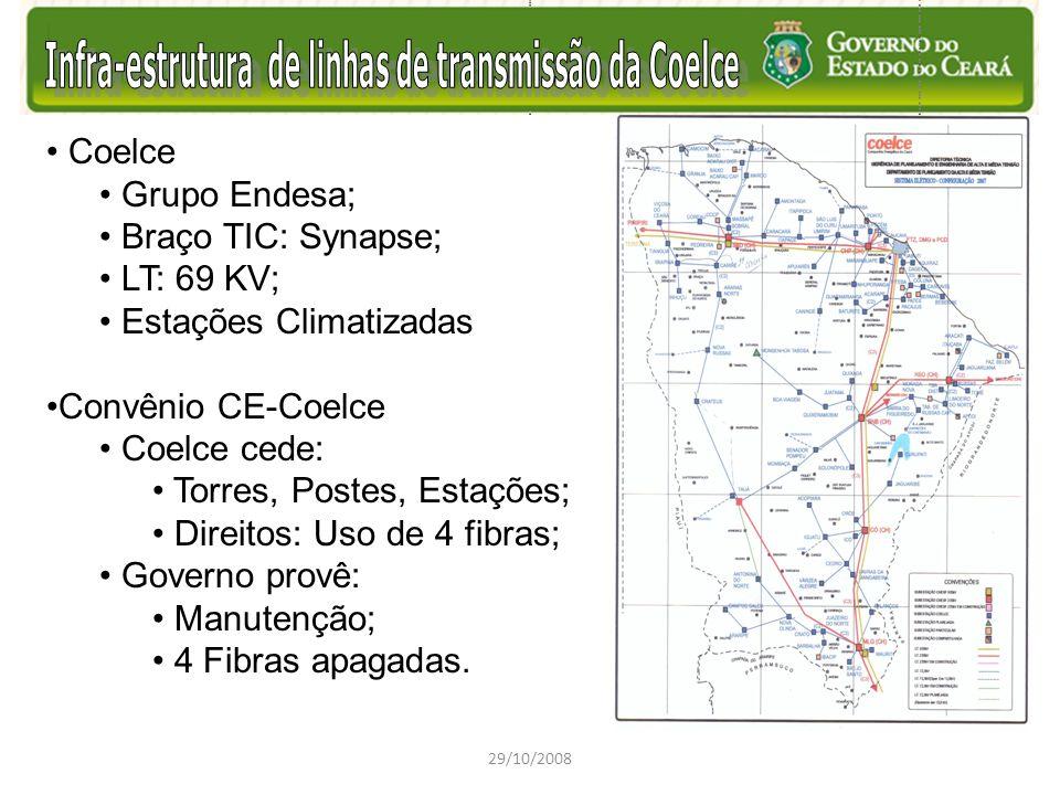 Coelce Grupo Endesa; Braço TIC: Synapse; LT: 69 KV; Estações Climatizadas Convênio CE-Coelce Coelce cede: Torres, Postes, Estações; Direitos: Uso de 4