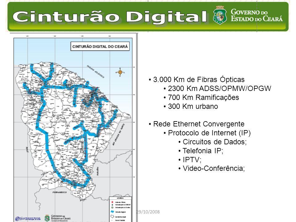 29/10/2008 Chesf 3.000 Km de Fibras Ópticas 2300 Km ADSS/OPMW/OPGW 700 Km Ramificações 300 Km urbano Rede Ethernet Convergente Protocolo de Internet (