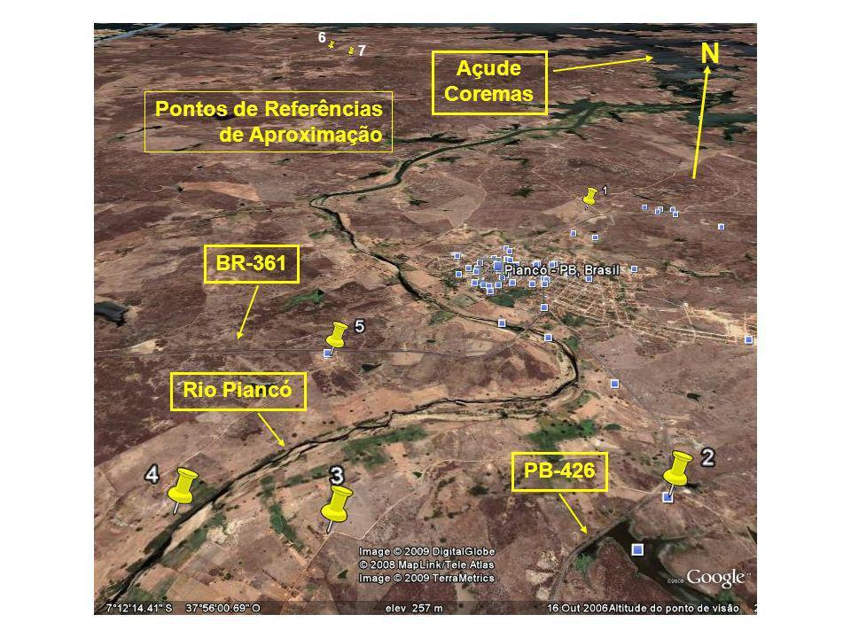 6 7 N BR-361 PB-426 Pontos de Referências de Aproximação Rio Piancó Açude Coremas