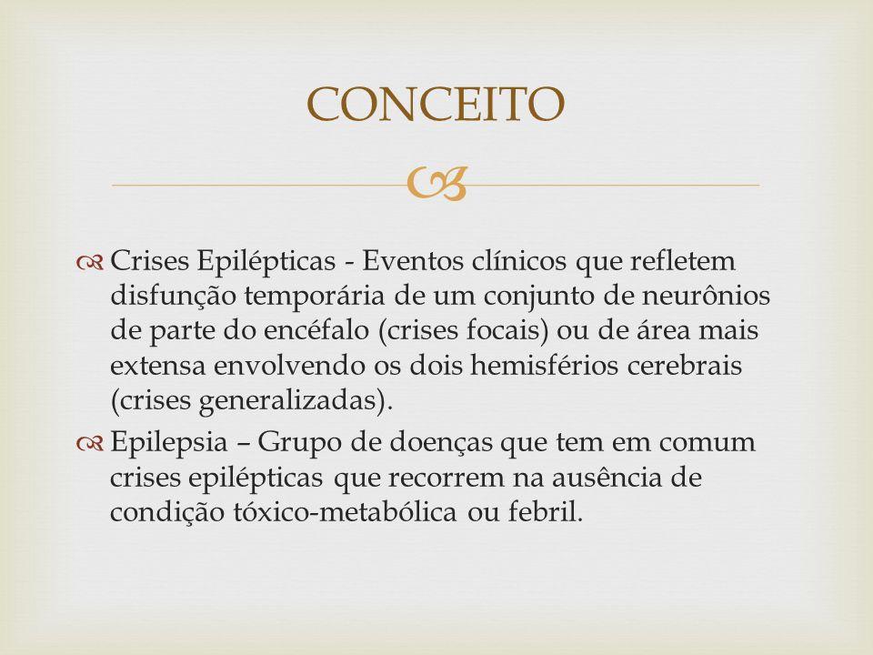 Crises Epilépticas - Eventos clínicos que refletem disfunção temporária de um conjunto de neurônios de parte do encéfalo (crises focais) ou de área mais extensa envolvendo os dois hemisférios cerebrais (crises generalizadas).