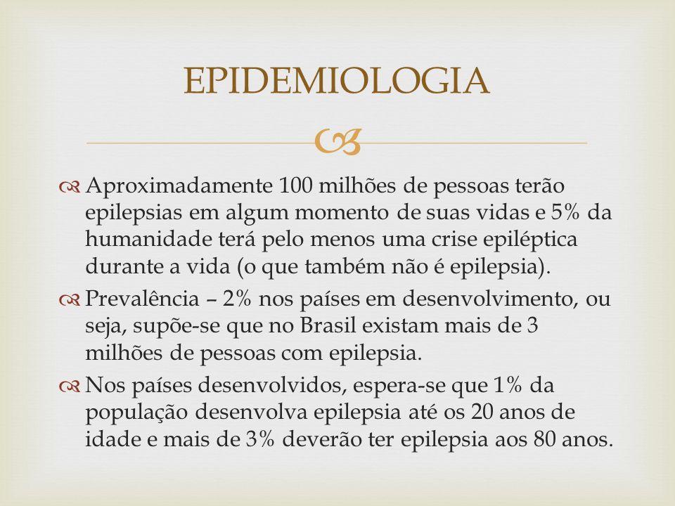 EPIDEMIOLOGIA Aproximadamente 100 milhões de pessoas terão epilepsias em algum momento de suas vidas e 5% da humanidade terá pelo menos uma crise epiléptica durante a vida (o que também não é epilepsia).