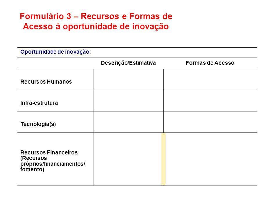 Oportunidade de inovação: Descrição/EstimativaFormas de Acesso Recursos Humanos Infra-estrutura Tecnologia(s) Recursos Financeiros (Recursos próprios/