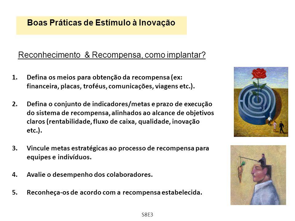 Boas Práticas de Estímulo à Inovação Reconhecimento & Recompensa, como implantar? 1.Defina os meios para obtenção da recompensa (ex: financeira, placa