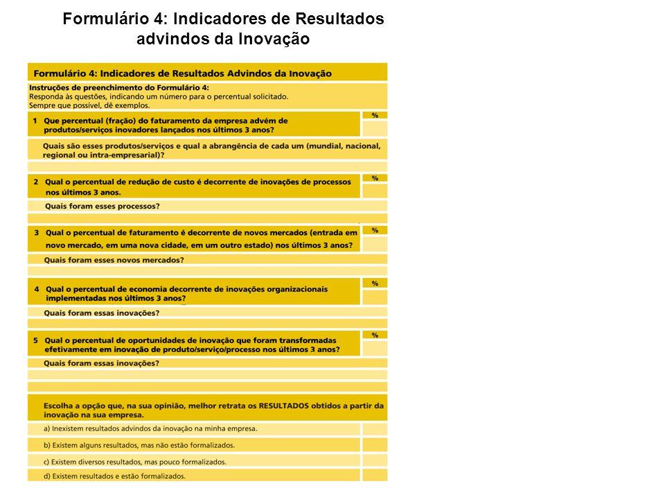Formulário 4: Indicadores de Resultados advindos da Inovação