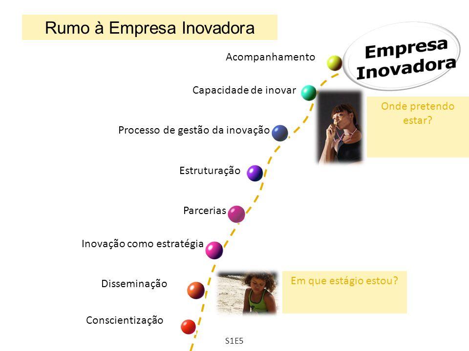 Rumo à Empresa Inovadora Conscientização Disseminação Inovação como estratégia Estruturação Processo de gestão da inovação Acompanhamento Parcerias Ca