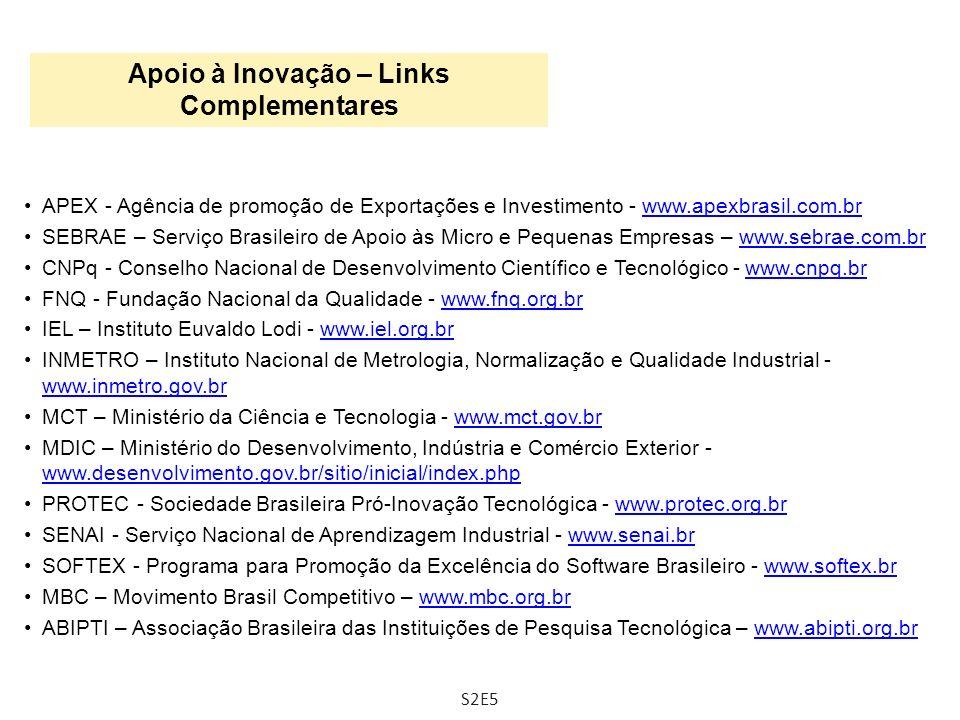 APEX - Agência de promoção de Exportações e Investimento - www.apexbrasil.com.brwww.apexbrasil.com.br SEBRAE – Serviço Brasileiro de Apoio às Micro e