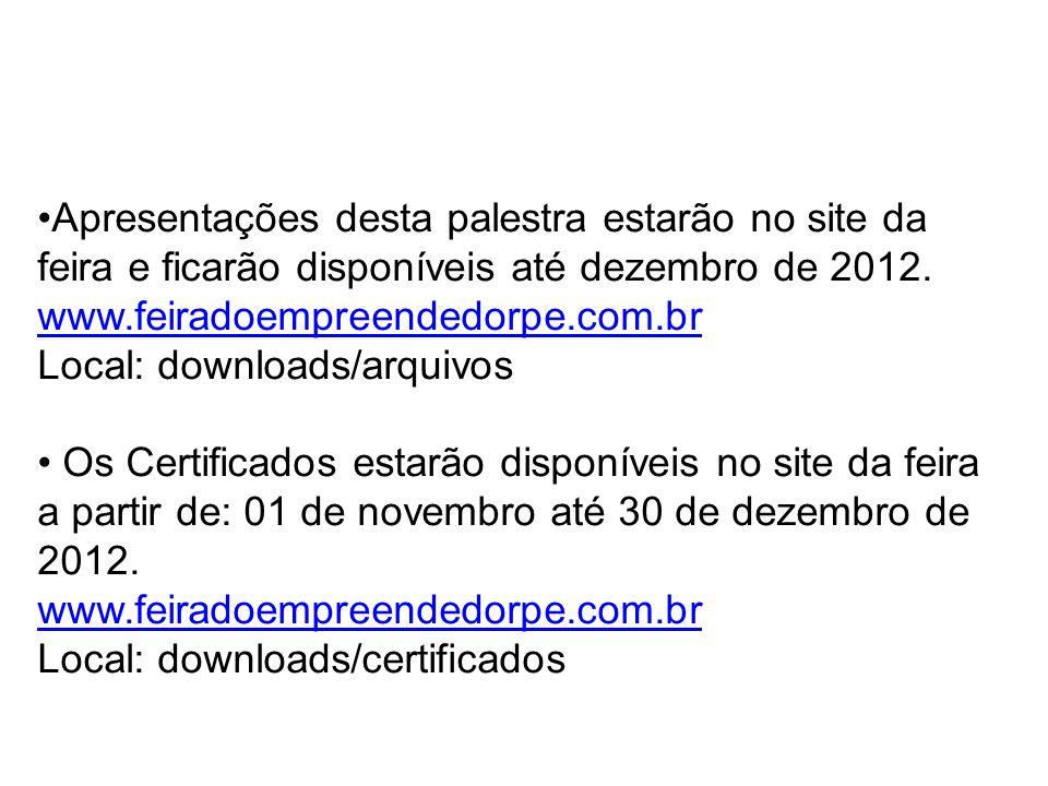 Apresentações desta palestra estarão no site da feira e ficarão disponíveis até dezembro de 2012. www.feiradoempreendedorpe.com.br Local: downloads/ar