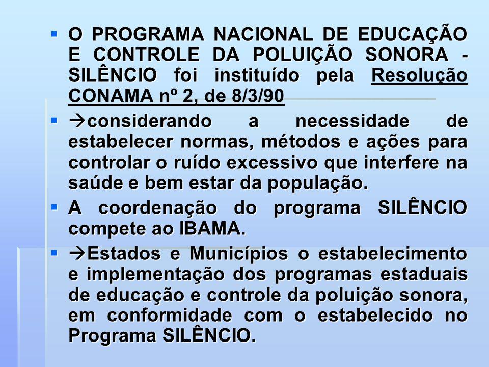O PROGRAMA NACIONAL DE EDUCAÇÃO E CONTROLE DA POLUIÇÃO SONORA - SILÊNCIO foi instituído pela O PROGRAMA NACIONAL DE EDUCAÇÃO E CONTROLE DA POLUIÇÃO SO