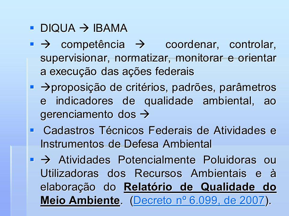 DIQUA IBAMA DIQUA IBAMA competência coordenar, controlar, supervisionar, normatizar, monitorar e orientar a execução das ações federais competência co