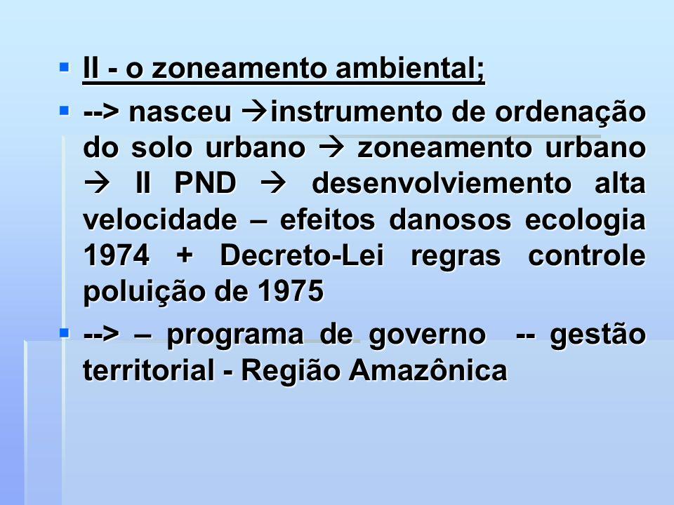 II - o zoneamento ambiental; II - o zoneamento ambiental; --> nasceu instrumento de ordenação do solo urbano zoneamento urbano II PND desenvolviemento