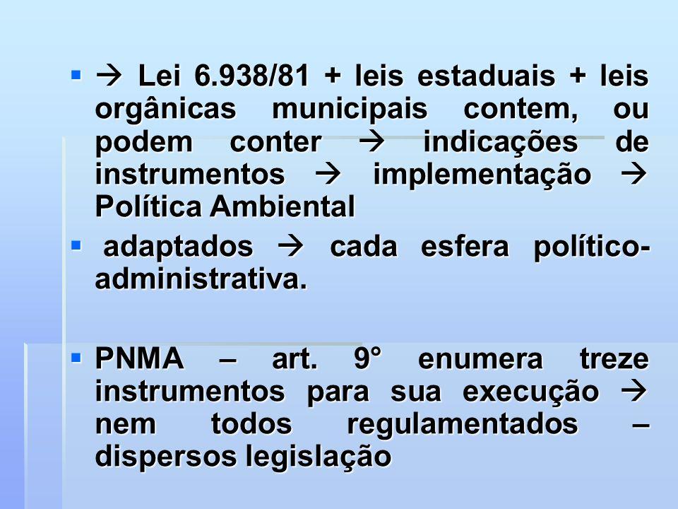 Lei 6.938/81 + leis estaduais + leis orgânicas municipais contem, ou podem conter indicações de instrumentos implementação Política Ambiental Lei 6.93