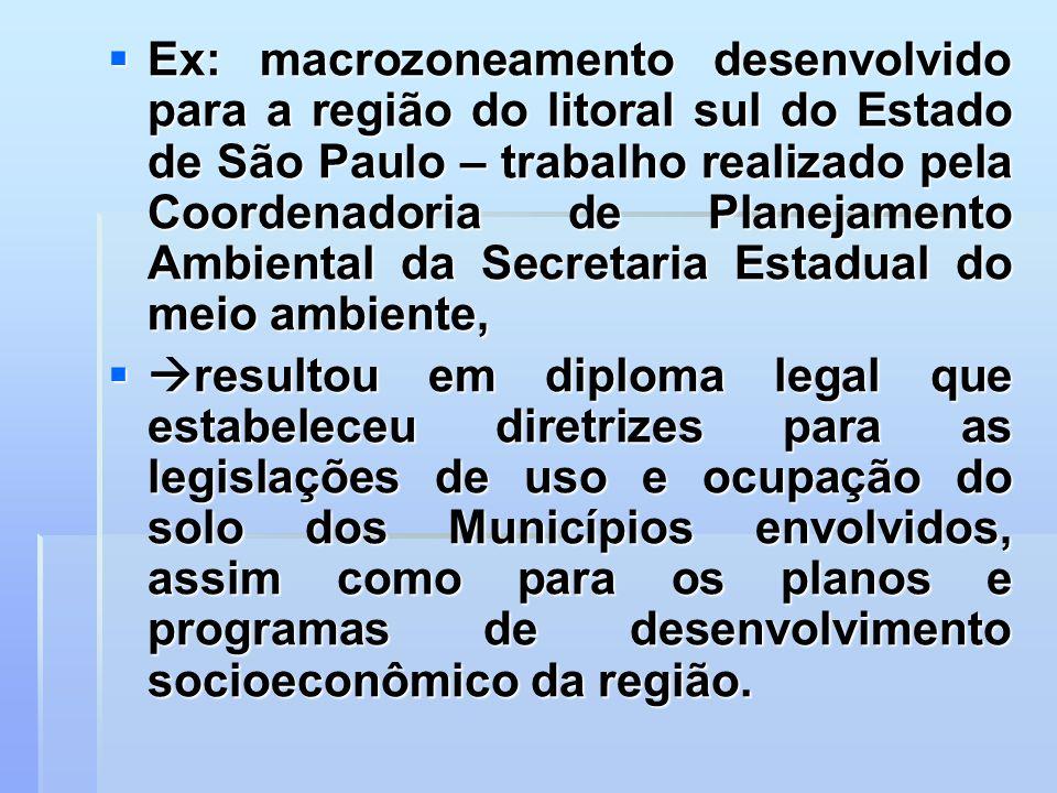 Ex: macrozoneamento desenvolvido para a região do litoral sul do Estado de São Paulo – trabalho realizado pela Coordenadoria de Planejamento Ambiental