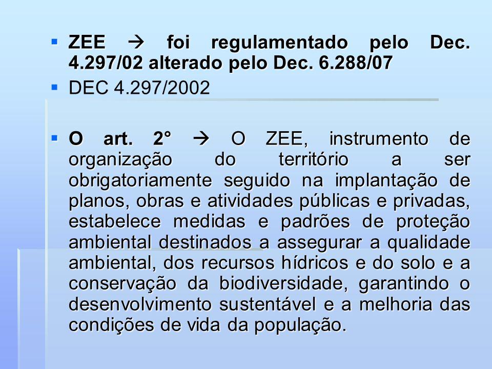 ZEE foi regulamentado pelo Dec. 4.297/02 alterado pelo Dec. 6.288/07 ZEE foi regulamentado pelo Dec. 4.297/02 alterado pelo Dec. 6.288/07 DEC 4.297/20