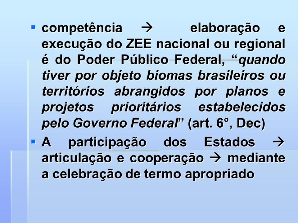 competência elaboração e execução do ZEE nacional ou regional é do Poder Público Federal, quando tiver por objeto biomas brasileiros ou territórios ab