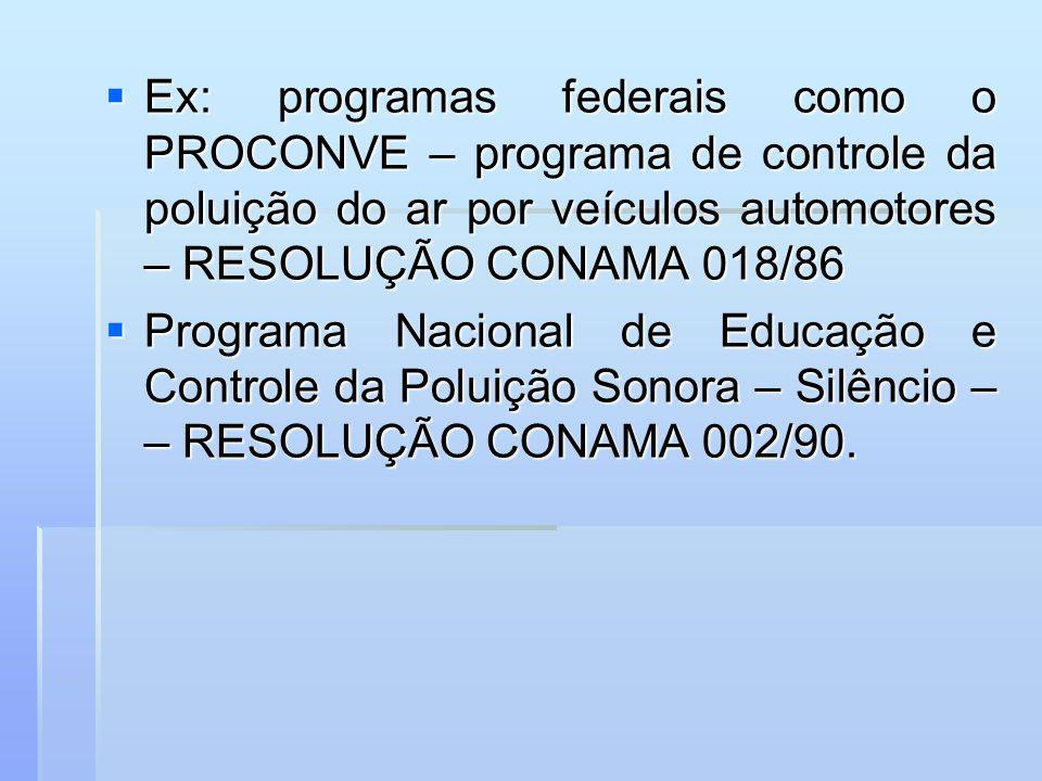Ex: programas federais como o PROCONVE – programa de controle da poluição do ar por veículos automotores – RESOLUÇÃO CONAMA 018/86 Ex: programas feder