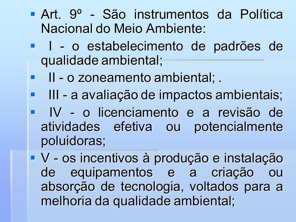 Art. 9º - São instrumentos da Política Nacional do Meio Ambiente: Art. 9º - São instrumentos da Política Nacional do Meio Ambiente: I - o estabelecime