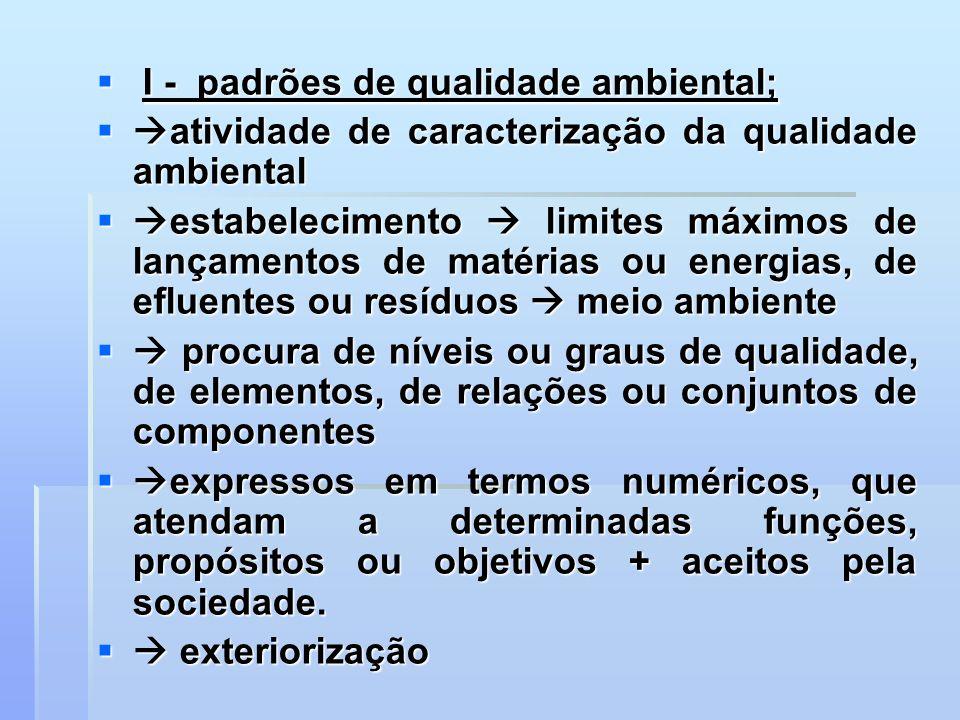 I - padrões de qualidade ambiental; I - padrões de qualidade ambiental; atividade de caracterização da qualidade ambiental atividade de caracterização