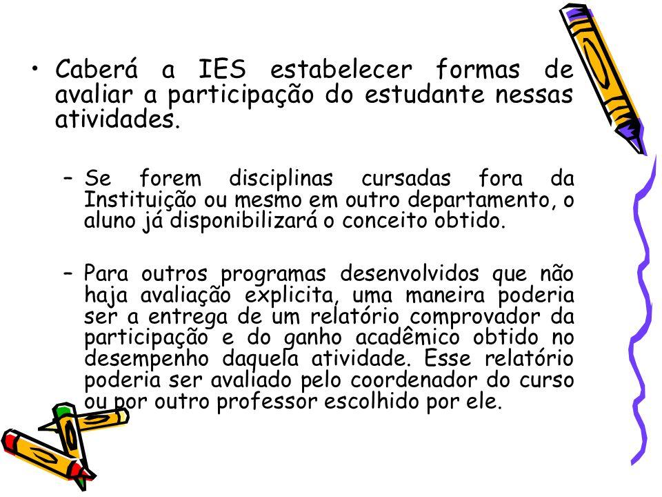 Caberá a IES estabelecer formas de avaliar a participação do estudante nessas atividades. –Se forem disciplinas cursadas fora da Instituição ou mesmo