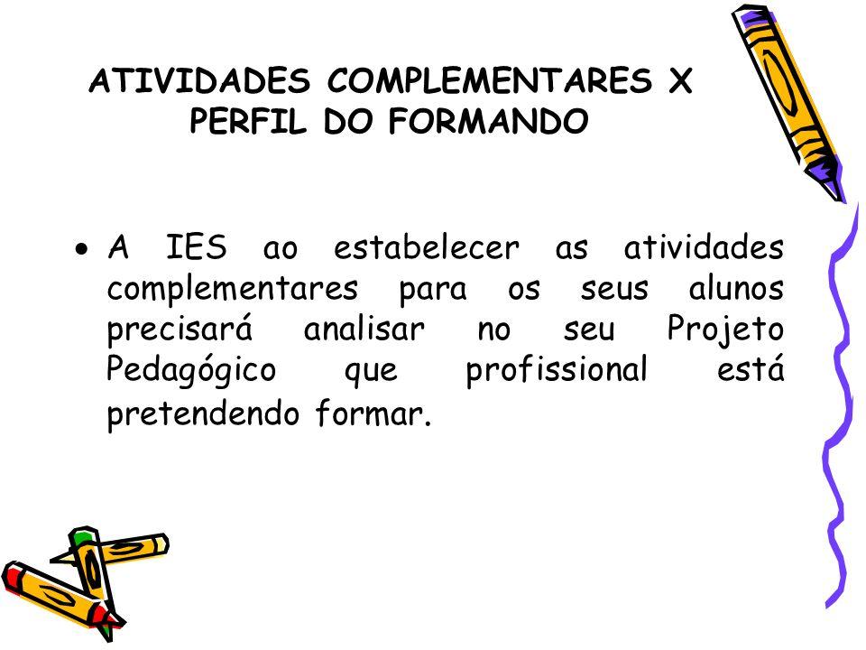 ATIVIDADES COMPLEMENTARES X PERFIL DO FORMANDO A IES ao estabelecer as atividades complementares para os seus alunos precisará analisar no seu Projeto
