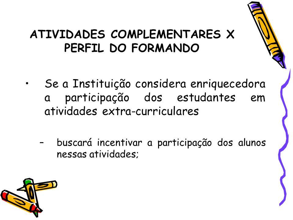 ATIVIDADES COMPLEMENTARES X PERFIL DO FORMANDO Se a Instituição considera enriquecedora a participação dos estudantes em atividades extra-curriculares