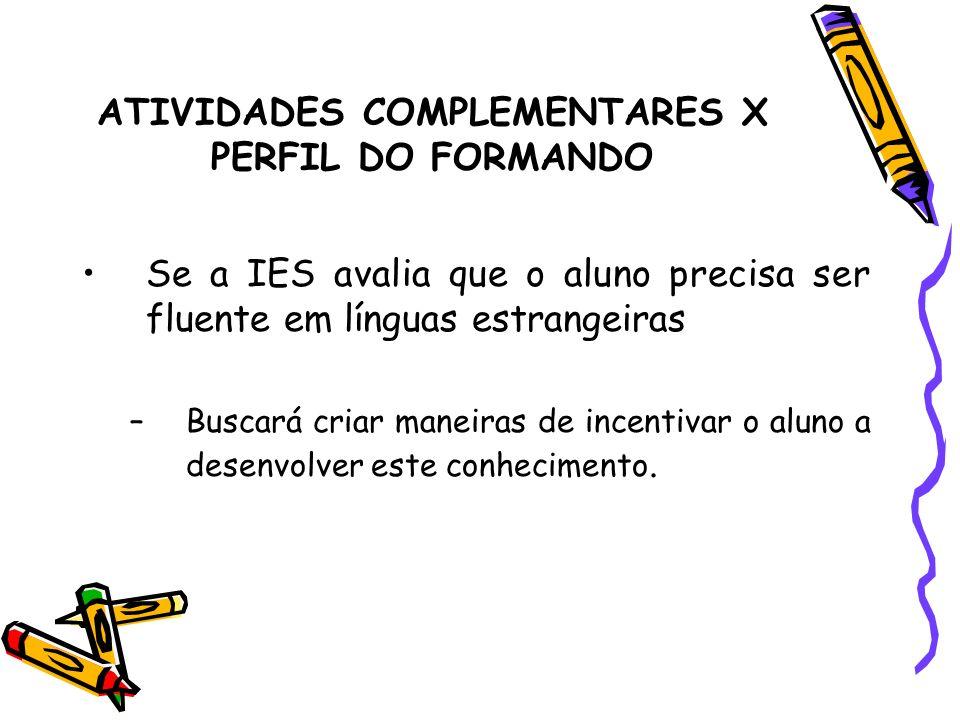 ATIVIDADES COMPLEMENTARES X PERFIL DO FORMANDO Se a IES avalia que o aluno precisa ser fluente em línguas estrangeiras –Buscará criar maneiras de ince