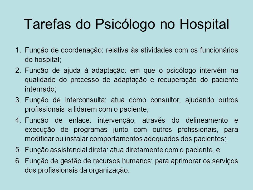 Tarefas do Psicólogo no Hospital 1.Função de coordenação: relativa às atividades com os funcionários do hospital; 2.Função de ajuda à adaptação: em qu